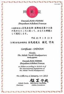 Diplôme Shihan décerné à Daniel JEAN PIERRE par le Doshu Moriteru Ueshiba